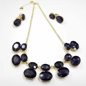 Monet Large Purple Rhinestone Necklace Earring Set